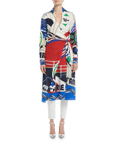 Helaine Long-Sleeve Printed Silk Midi Shirtdress