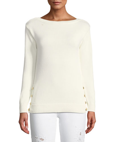 Boat-Neck Long-Sleeve Chunky Cotton Jersey Sweater w Button Detail