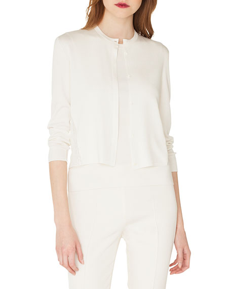 AKRIS Lace Back Silk Cardigan in White