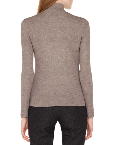 Mock-Neck Long-Sleeve Cashmere-Silk Knit Pullover Sweater