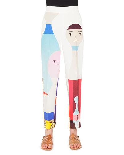 Wooden Doll Print Crepe Skinny-Leg Pants