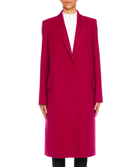 Peak-Lapels Single-Breasted Wool-Cashmere Classic Coat, Magenta