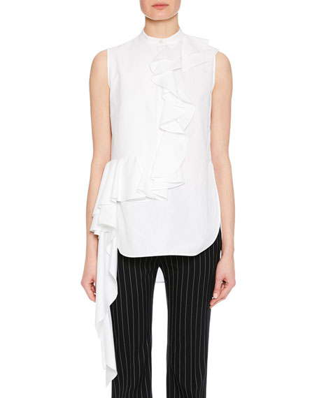 Sleeveless Ruffle-Front Side-Drape Cotton Blouse in White