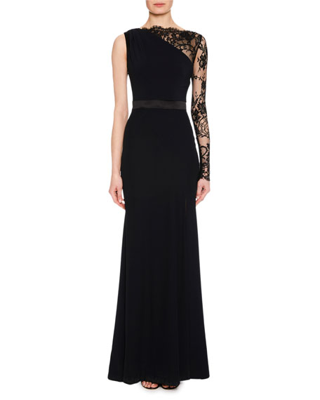 Lace One-Sleeve Column Crepe Evening Gown W/ Leg Slit, Black