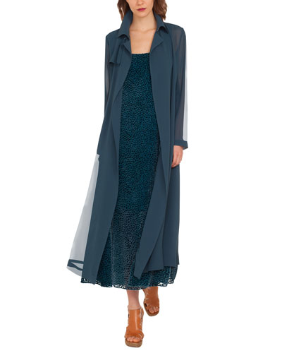 Organza Silk Trench-Style Coat