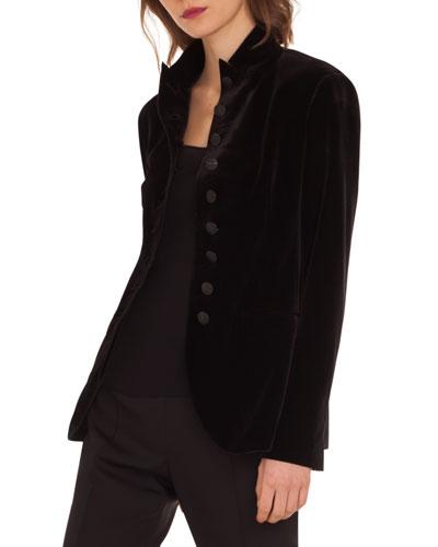 Velvet-Stretch 10-Button Jacket