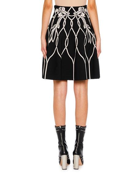 Art Nouveau Intarsia A-Line Mini Skirt