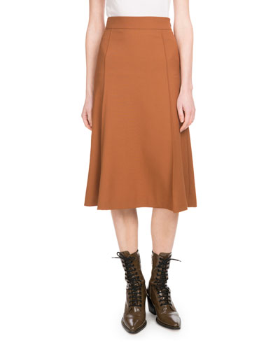 Mid-Calf A-Line Side-Zip Stretch-Wool Skirt