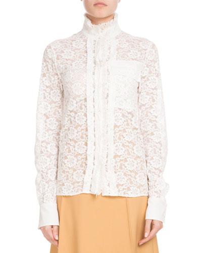 Long-Sleeve Mock-Neck Button-Front Floral-Lace Blouse