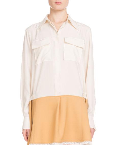 Chloe Long-Sleeve Button-Front Bicolor Lace-Hem Crepe de Chine