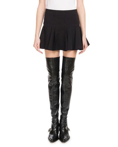 Ruffle-Hem Crepe Mini Skirt