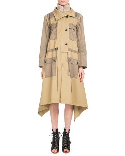 Zip-Front Mid-Calf Parka Coat w/ Nylon Patch Pockets