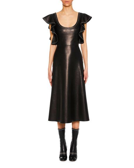 Scoop-Neck Ruffle-Shoulder A-Line Lamb Leather Midi Dress