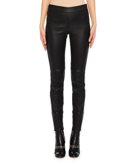Studded-Side Lamb-Leather Leggings
