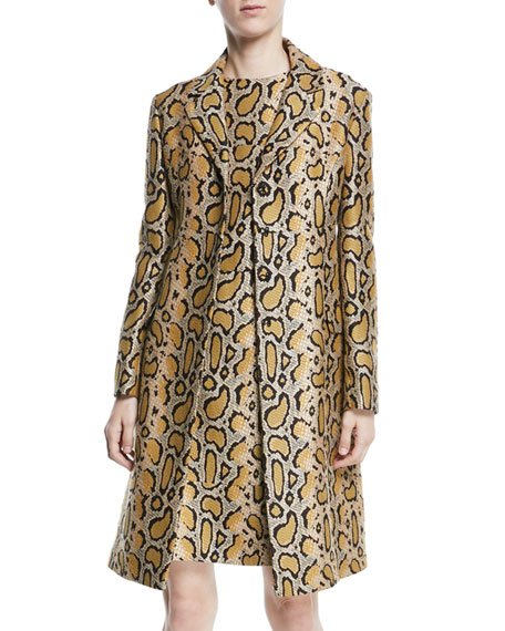 Snakeskin-Print Fitted Coat in Yellow