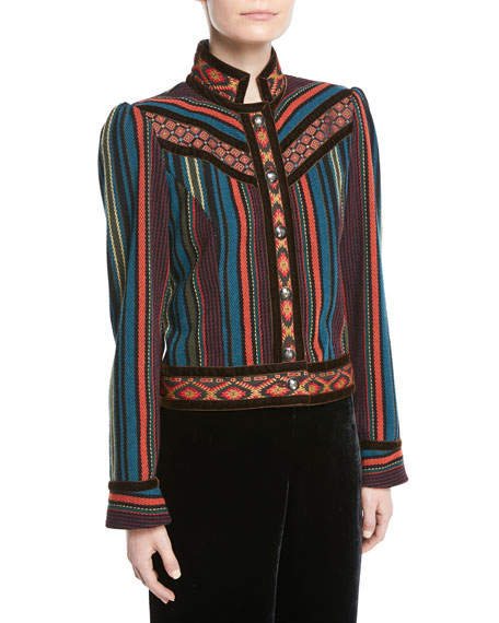 Striped Cropped Jacket with Velvet Piping