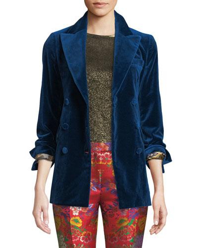 Peak-Lapel Double-Breasted Velvet Jacket