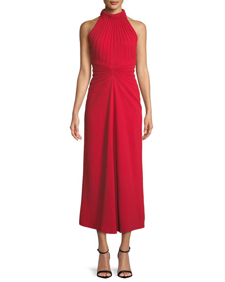 Brandon Maxwell Sleeveless Pebble-Crepe Mirror Pleat Midi Dress