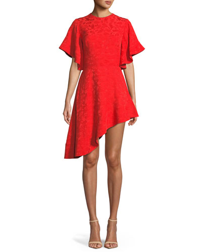 Pineapple Satin Jacquard Asymmetric-Hem Cocktail Dress