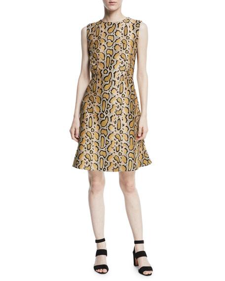 Leopard-Print Sleeveless A-Line Dress in Neutrals