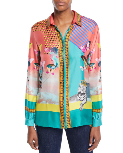 Long-Sleeve Button-Front Butterfly-Print Silk Blouse
