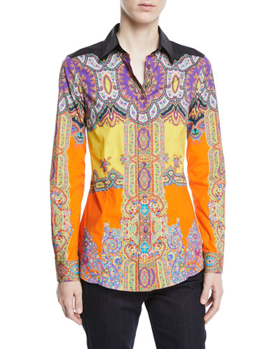 Paisley Collared Long-Sleeve Fitted Shirt