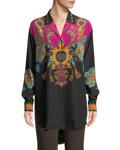 Button-Front Long-Sleeve Damask-Print Silk Blouse