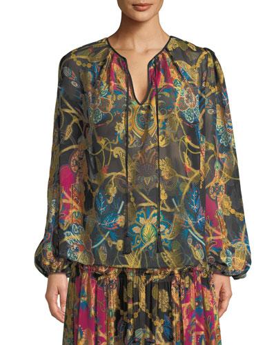 Tie-Neck Long-Sleeve Paisley-Print Silk Peasant Blouse