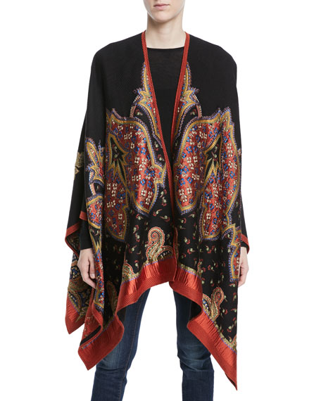 Paisley And Floral-Embroidered Cape, Black Pattern