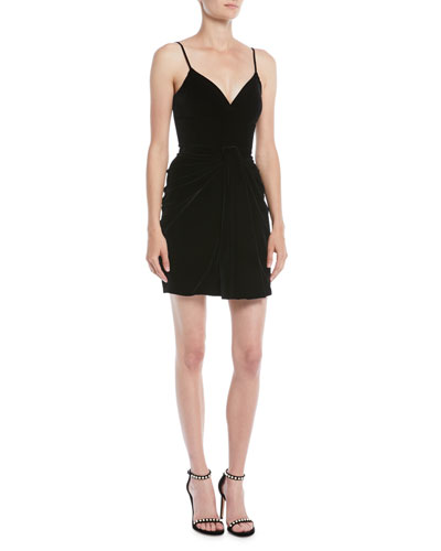 Sleeveless Sweetheart-Neck Thin-Strap Velvet Mini Dress