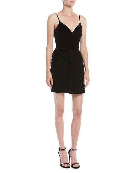 Brandon Maxwell Sleeveless Sweetheart-Neck Thin-Strap Velvet Mini