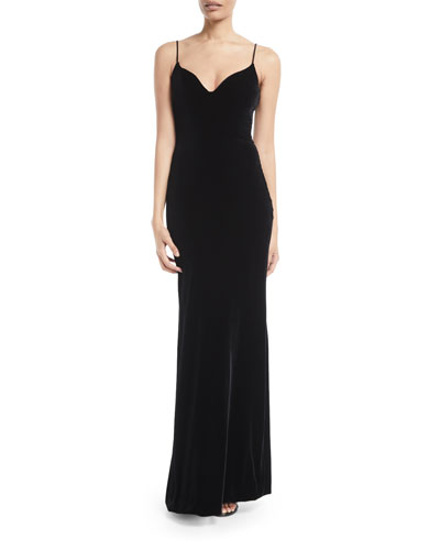 Sweetheart-Neck Sleeveless Thin-Strap Velvet Evening Gown