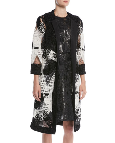 Open-Front Embroidered Coat