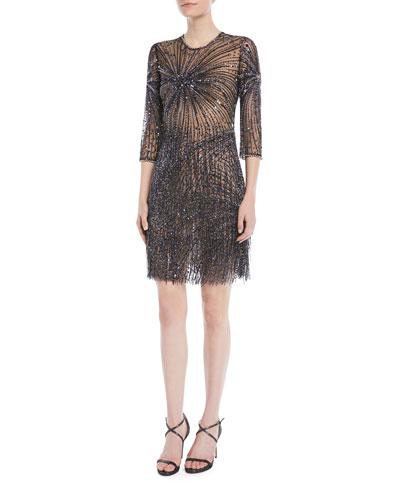 3/4-Sleeve Fringe-Embellished Cocktail Dress
