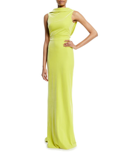 Sleeveless Drape-Back Column Evening Gown