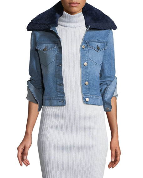 Brandon Maxwell Button-Front Denim Jacket w/ Shearling Fur