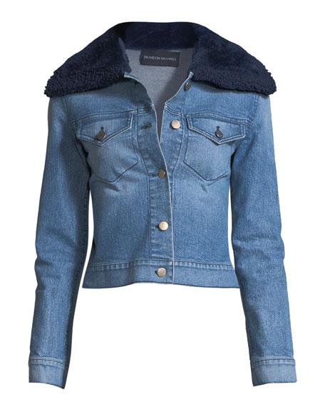 Button-Front Denim Jacket w/ Shearling Fur Collar