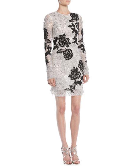 Long-Sleeve Beaded-Embellished Cocktail Dress w/ Floral Applique