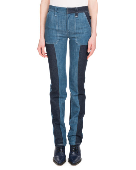 Zip-Front Patch-Pocket Straight-Leg Bicolor Jeans