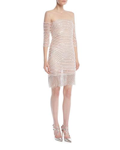 3/4-Sleeve Beaded Illusion Fringed Cocktail Dress