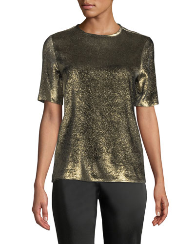 Crewneck Short-Sleeve Metallic Woven Blouse