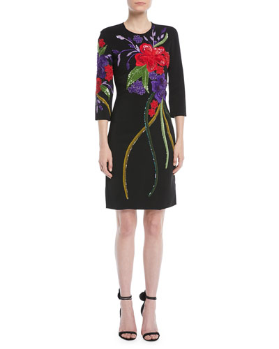3/4-Sleeve Floral-Embroidered Sheath Cocktail Dress