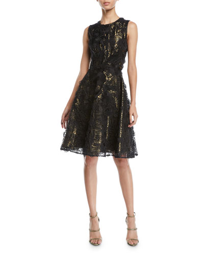 Sleeveless A-Line Floral-Guipure Lace Evening Gown with Metallic Lining