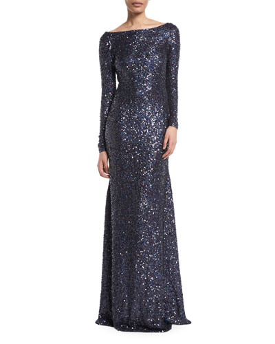 Long-Sleeve Low-Back Sequin Evening Gown