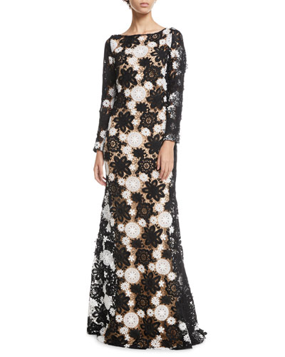 Boat-Neck Long-Sleeve A-Line Lace-Guipure Evening Gown