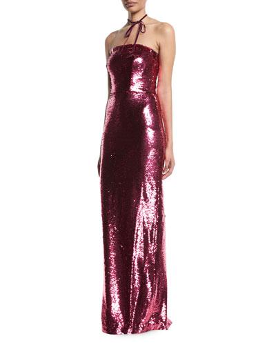 Strapless Sequin Slim Column Evening Gown