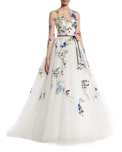 Floral-Embroidered Long-Sleeve Illusion A-Line Evening Gown
