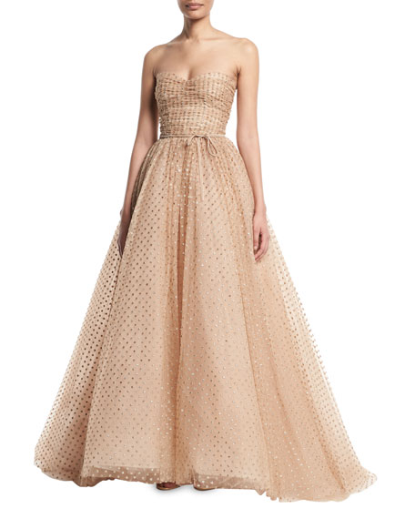 Strapless Glittered Dot Ruched Bodice Tulle Ball Gown by Monique Lhuillier