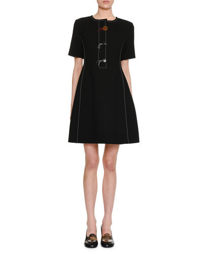 Short-Sleeve 3-Button Fit-and-Flare Wool Crepe Dress