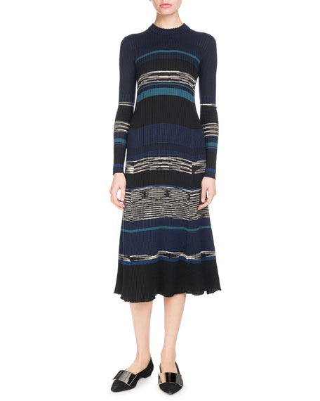 Long-Sleeve Crewneck Striped Ribbed Wool-Blend Dress, Black Pattern